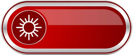 Sun red long glossy silver metallic banner. Modern design web icon for smartphone applications
