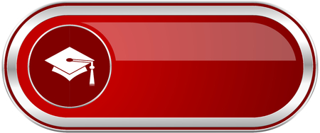Education red long glossy silver metallic banner. Modern design web icon for smartphone applications Stock Photo