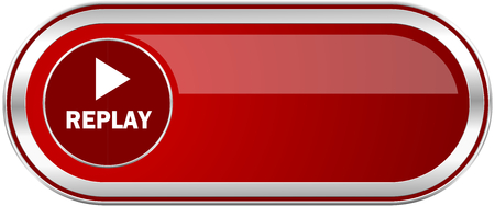 eject icon: Replay red long glossy silver metallic banner. Modern design web icon for smartphone applications Stock Photo