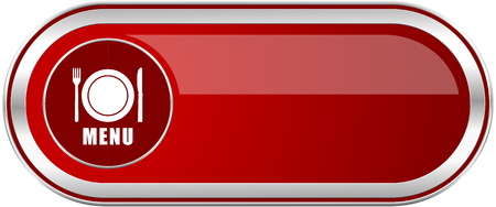 Menu red long glossy silver metallic banner. Modern design web icon for smartphone applications