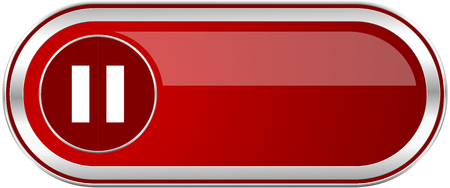 eject icon: Pause red long glossy silver metallic banner. Modern design web icon for smartphone applications