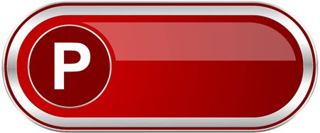 pause icon: Parking red long glossy silver metallic banner. Modern design web icon for smartphone applications Stock Photo