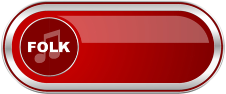 live stream radio: Folk music red long glossy silver metallic banner. Modern design web icon for smartphone applications