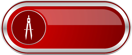 Learning red long glossy silver metallic banner. Modern design web icon for smartphone applications