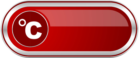 Celsius red long glossy silver metallic banner. Modern design web icon for smartphone applications