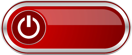 Power red long glossy silver metallic banner. Modern design web icon for smartphone applications Stock Photo
