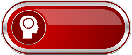 Head red long glossy silver metallic banner. Modern design web icon for smartphone applications