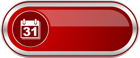 Calendar red long glossy silver metallic banner. Modern design web icon for smartphone applications Stock Photo