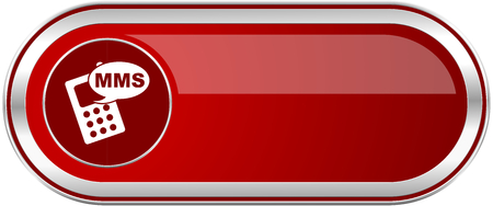 Mms red long glossy silver metallic banner. Modern design web icon for smartphone applications