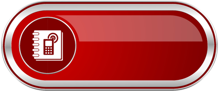 Phonebook red long glossy silver metallic banner. Modern design web icon for smartphone applications