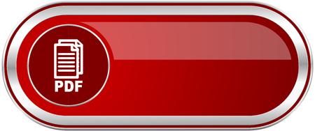 Pdf rotes, glänzendes silbernes metallisches Banner. Modernes Design Web Icon für Smartphone Anwendungen, Standard-Bild