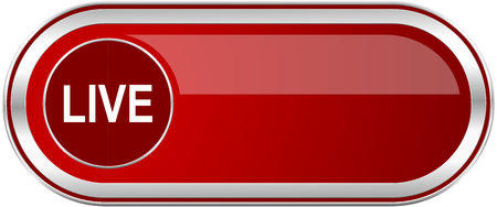 livestream: Live red long glossy silver metallic banner. Modern design web icon for smartphone applications
