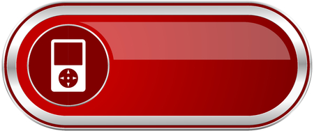Multimedia player red long glossy silver metallic banner. Modern design web icon for smartphone applications Stock Photo