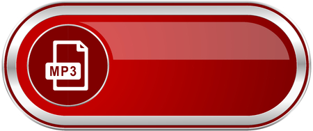 Mp3 file red long glossy silver metallic banner. Modern design web icon for smartphone applications