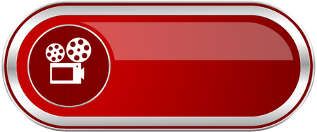 Movie red long glossy silver metallic banner. Modern design web icon for smartphone applications Stock Photo