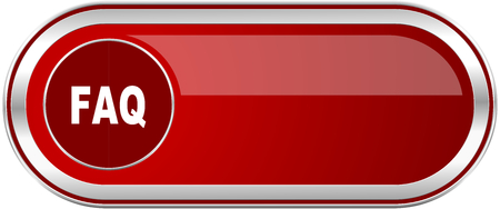 Faq red long glossy silver metallic banner. Modern design web icon for smartphone applications