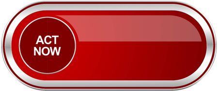 Act now red long glossy silver metallic banner. Modern design web icon for smartphone applications
