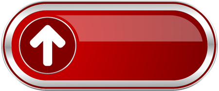 Up arrow red long glossy silver metallic banner. Modern design web icon for smartphone applications