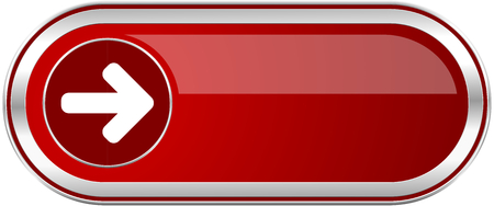 Right arrow red long glossy silver metallic banner. Modern design web icon for smartphone applications