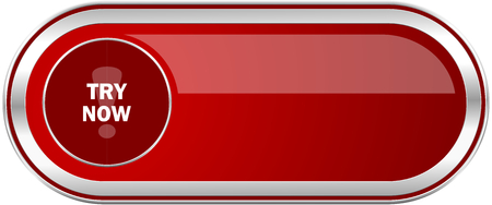 Try now red long glossy silver metallic banner. Modern design web icon for smartphone applications