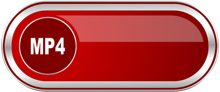 MP4 red long glossy silver metallic banner. Modern design web icon for smartphone applications