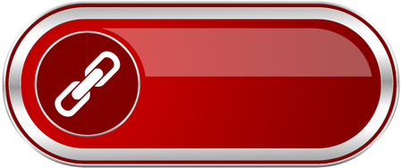 Link red long glossy silver metallic banner. Modern design web icon for smartphone applications