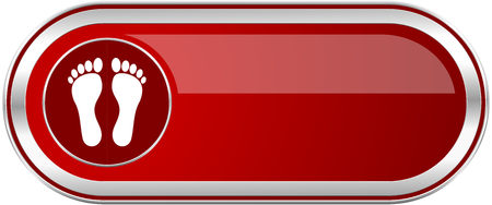 massage symbol: Foot red long glossy silver metallic banner. Modern design web icon for smartphone applications Stock Photo