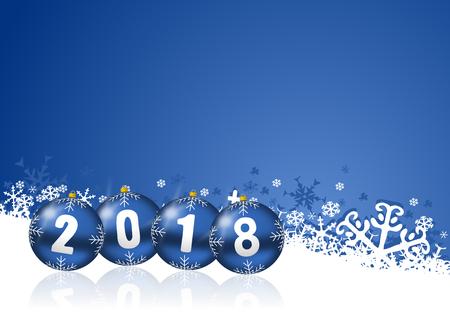 2018 happy new years illustration with christmas balls and snowflakes on blue background. Stock Photo