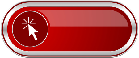 Click here red long glossy silver metallic banner. Modern design web icon for smartphone applications