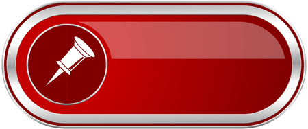Pin red long glossy silver metallic banner. Modern design web icon for smartphone applications