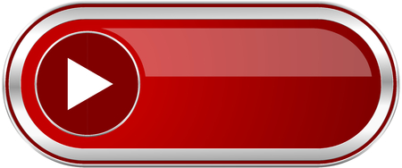 Play red long glossy silver metallic banner. Modern design web icon for smartphone applications