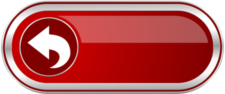 Back red long glossy silver metallic banner. Modern design web icon for smartphone applications Stock Photo
