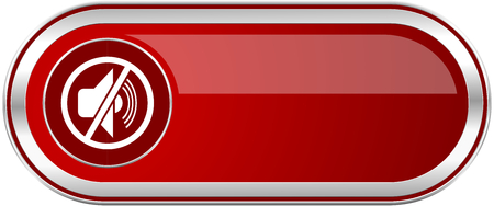 Mute red long glossy silver metallic banner. Modern design web icon for smartphone applications