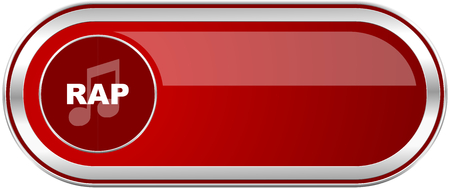 Rap music red long glossy silver metallic banner. Modern design web icon for smartphone applications Stock Photo