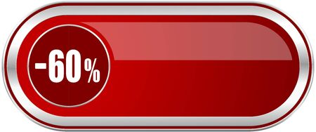 60 percent sale retail red long glossy silver metallic banner. Modern design web icon for smartphone applications