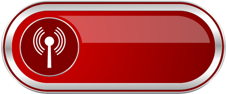 Wifi red long glossy silver metallic banner. Modern design web icon for smartphone applications