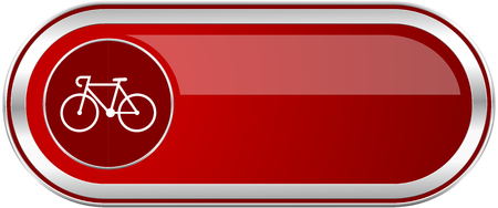 Bicycle red long glossy silver metallic banner. Modern design web icon for smartphone applications Stock Photo