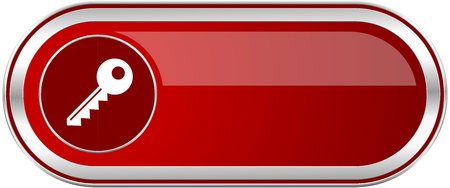 Key red long glossy silver metallic banner. Modern design web icon for smartphone applications