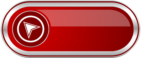 Navigation red long glossy silver metallic banner. Modern design web icon for smartphone applications Stock Photo