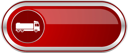 Truck red long glossy silver metallic banner. Modern design web icon for smartphone applications