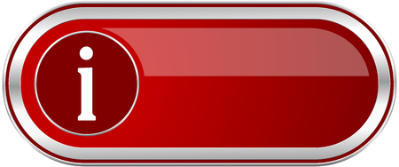 Information red long glossy silver metallic banner. Modern design web icon for smartphone applications