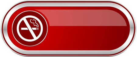 No smoking red long glossy silver metallic banner. Modern design web icon for smartphone applications