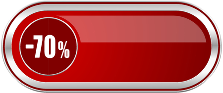 70 percent sale retail red long glossy silver metallic banner. Modern design web icon for smartphone applications