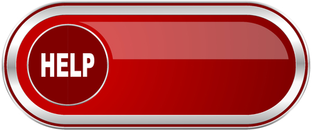 Help red long glossy silver metallic banner. Modern design web icon for smartphone applications Reklamní fotografie