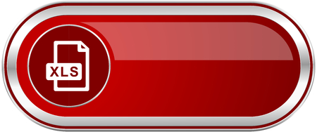 xls: Xls file red long glossy silver metallic banner. Modern design web icon for smartphone applications