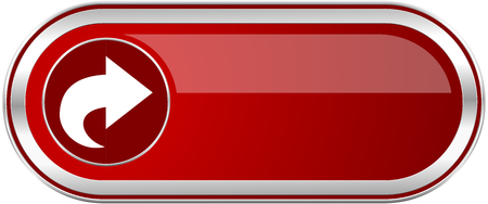 Next red long glossy silver metallic banner. Modern design web icon for smartphone applications Stock Photo