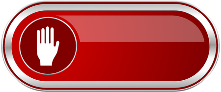Stop red long glossy silver metallic banner. Modern design web icon for smartphone applications