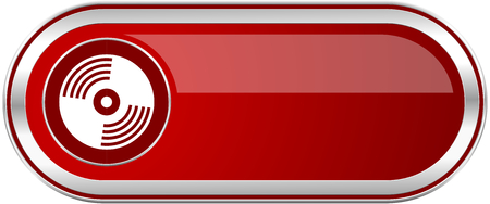 Vinyl music red long glossy silver metallic banner. Modern design web icon for smartphone applications