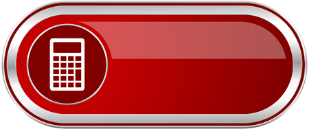 Calculator red long glossy silver metallic banner. Modern design web icon for smartphone applications Stock Photo