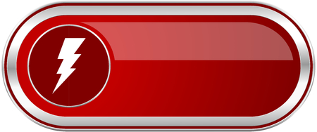Bolt red long glossy silver metallic banner. Modern design web icon for smartphone applications